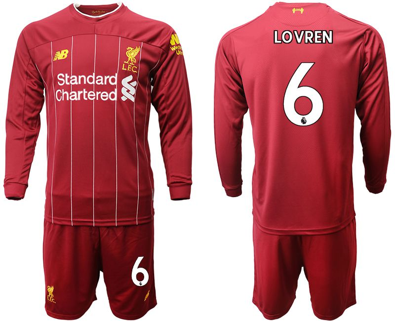 Men 2019-2020 club Liverpool home long sleeves 6 red Soccer Jerseys