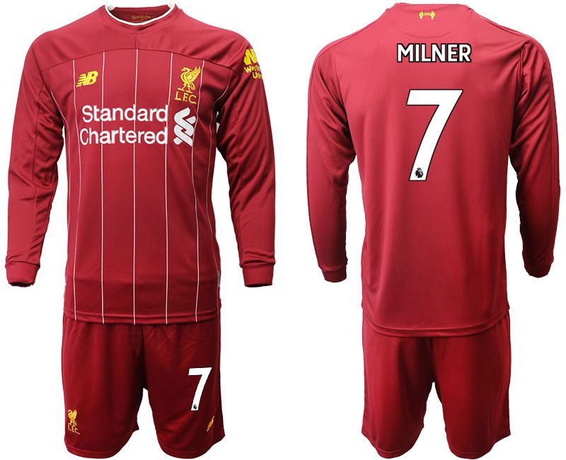 Men 2019-2020 club Liverpool home long sleeves 7 red Soccer Jerseys