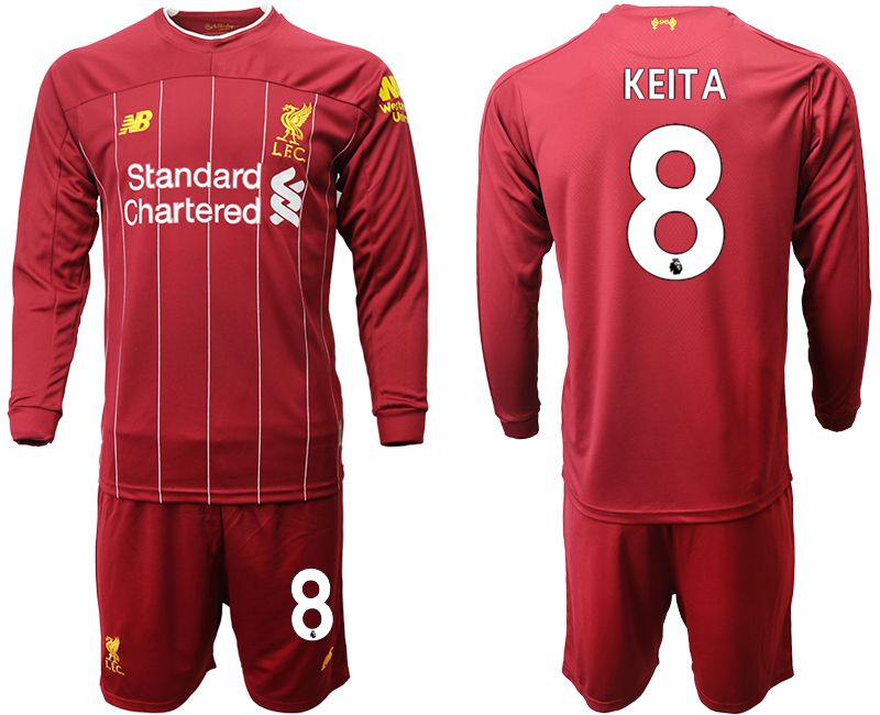 Men 2019-2020 club Liverpool home long sleeves 8 red Soccer Jerseys