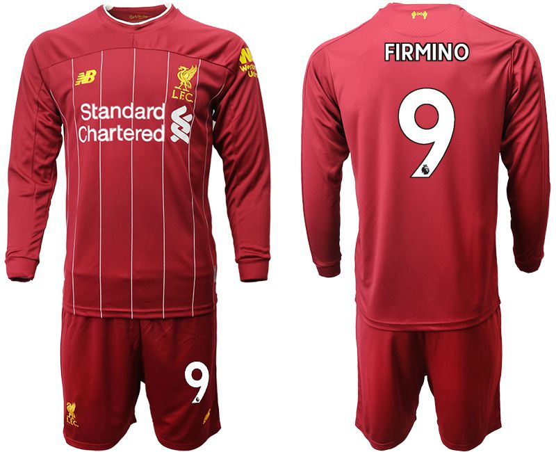 Men 2019-2020 club Liverpool home long sleeves 9 red Soccer Jerseys