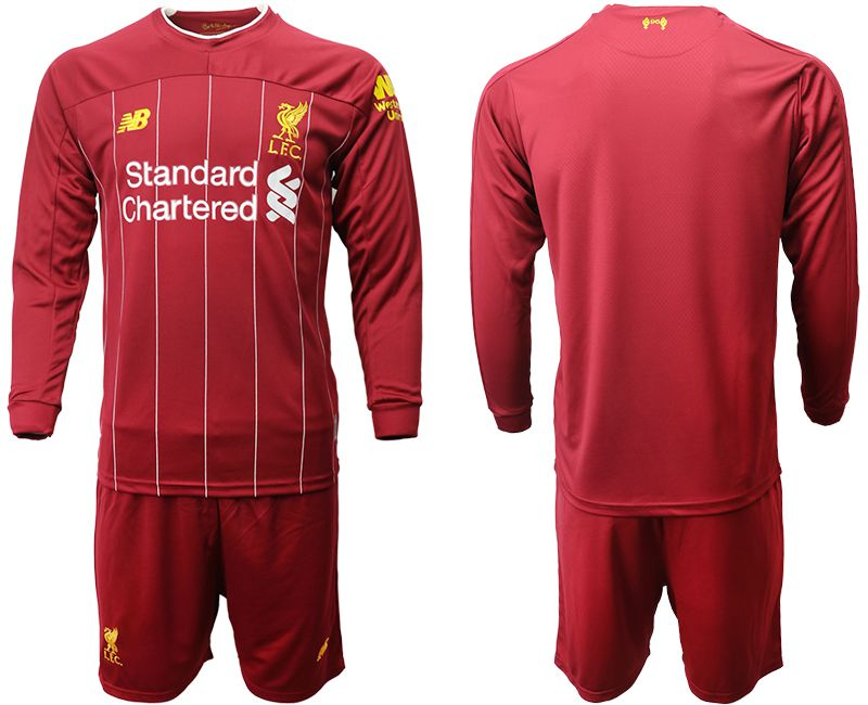 Men 2019-2020 club Liverpool home long sleeves red Soccer Jerseys