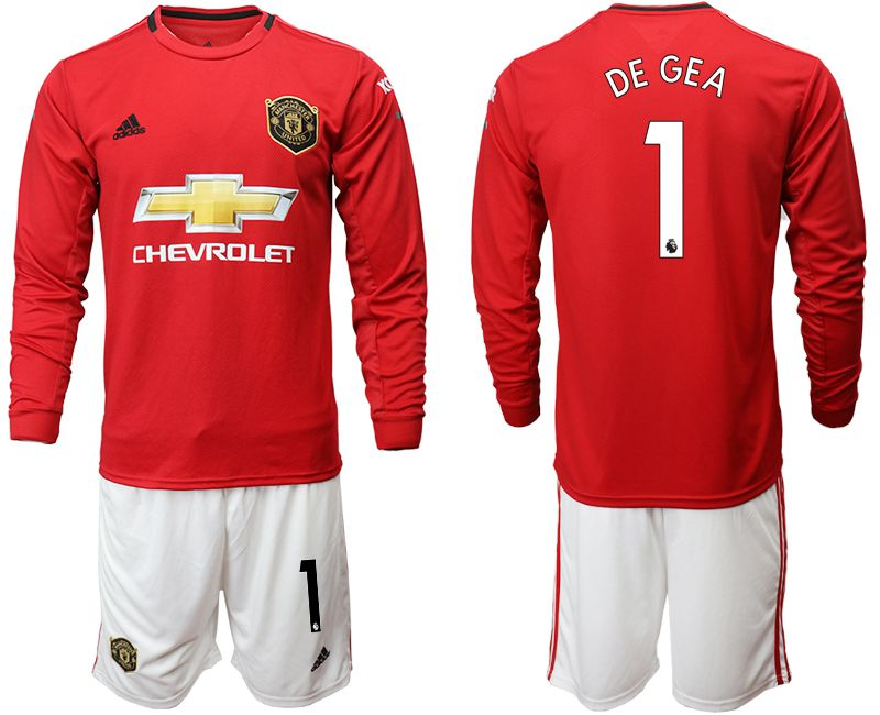 Men 2019-2020 club Manchester united home long sleeve 1 red Soccer Jerseys