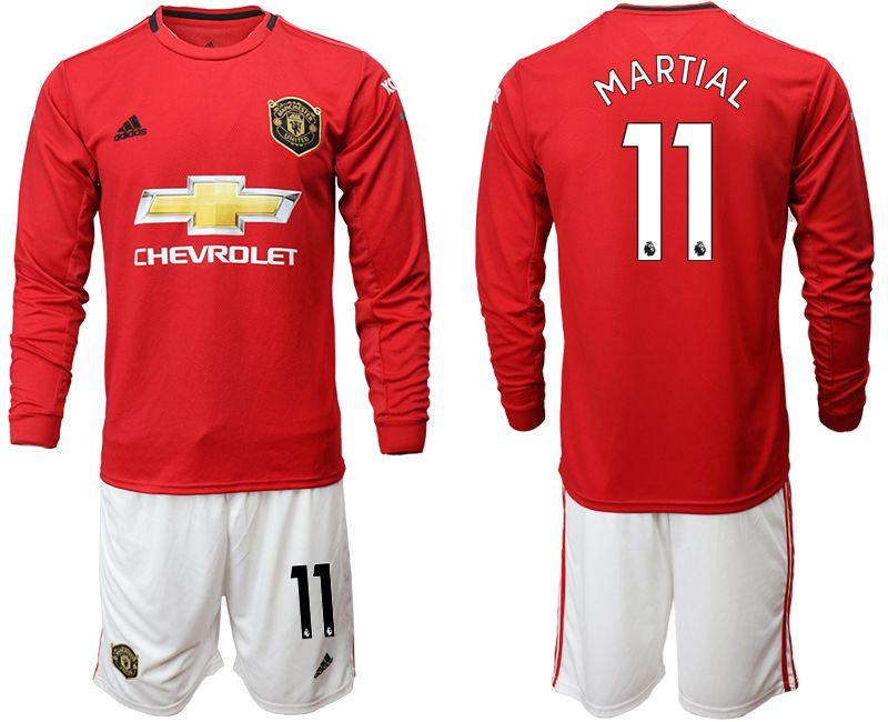 Men 2019-2020 club Manchester united home long sleeve 11 red Soccer Jerseys