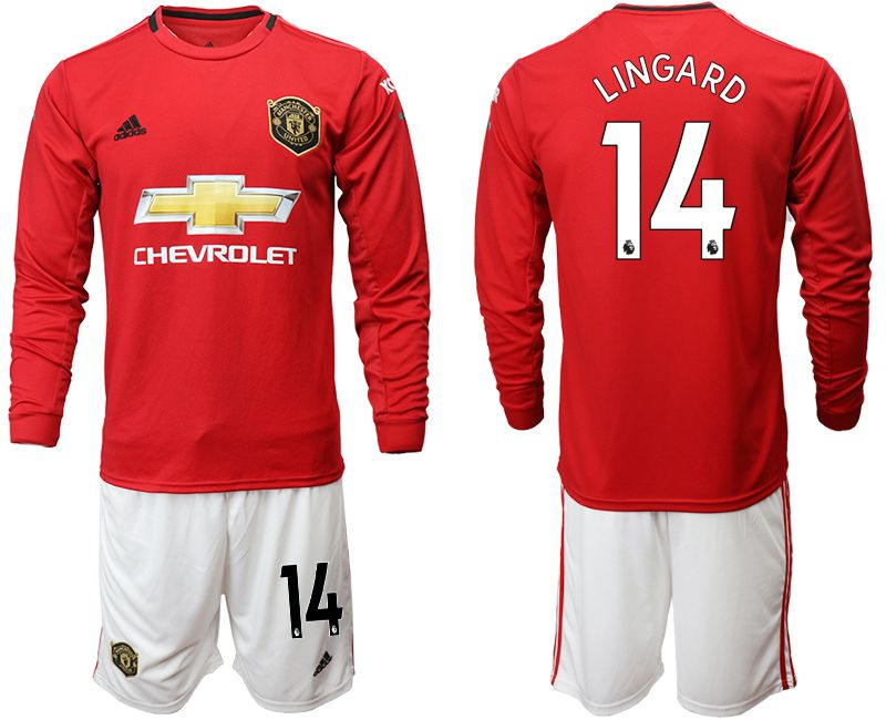 Men 2019-2020 club Manchester united home long sleeve 14 red Soccer Jerseys