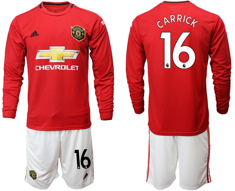 Men 2019-2020 club Manchester united home long sleeve 16 red Soccer Jerseys