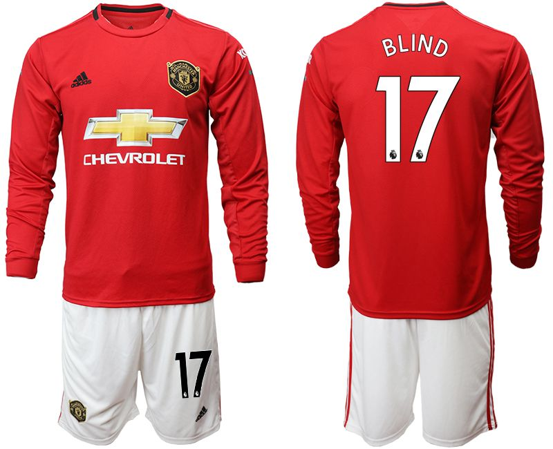Men 2019-2020 club Manchester united home long sleeve 17 red Soccer Jerseys