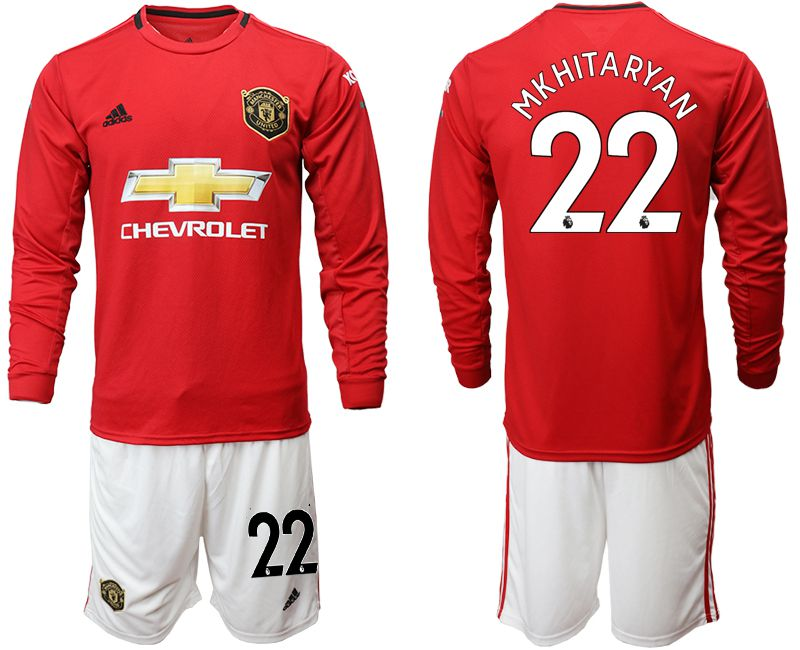 Men 2019-2020 club Manchester united home long sleeve 22 red Soccer Jerseys