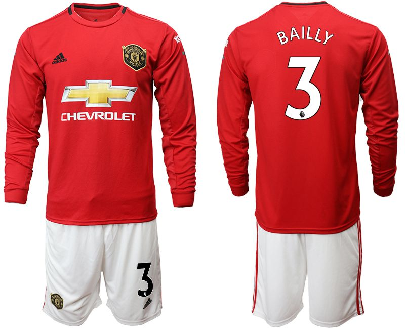 Men 2019-2020 club Manchester united home long sleeve 3 red Soccer Jerseys