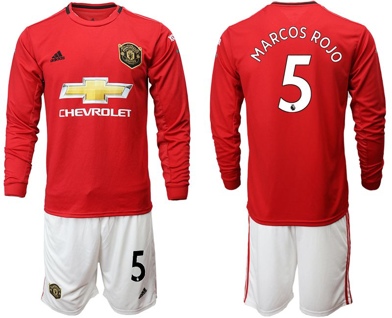 Men 2019-2020 club Manchester united home long sleeve 5 red Soccer Jerseys