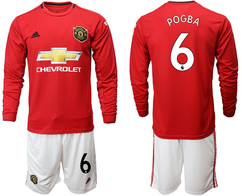 Men 2019-2020 club Manchester united home long sleeve 6 red Soccer Jerseys
