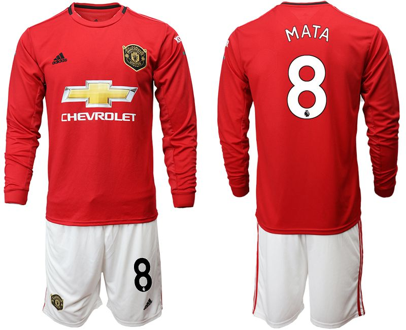 Men 2019-2020 club Manchester united home long sleeve 8 red Soccer Jerseys