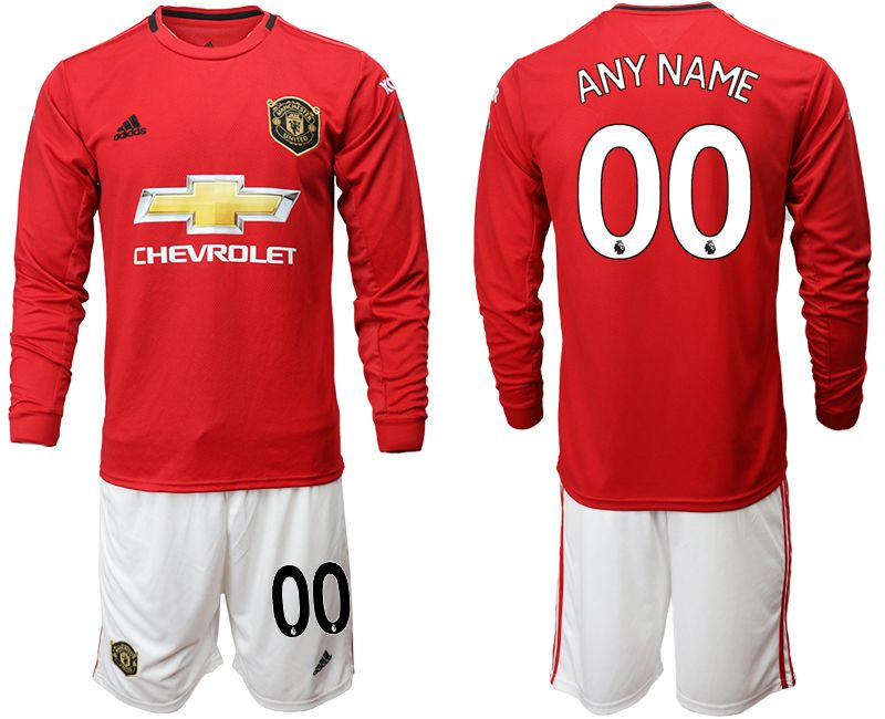 Men 2019-2020 club Manchester united home long sleeve customized red Soccer Jerseys