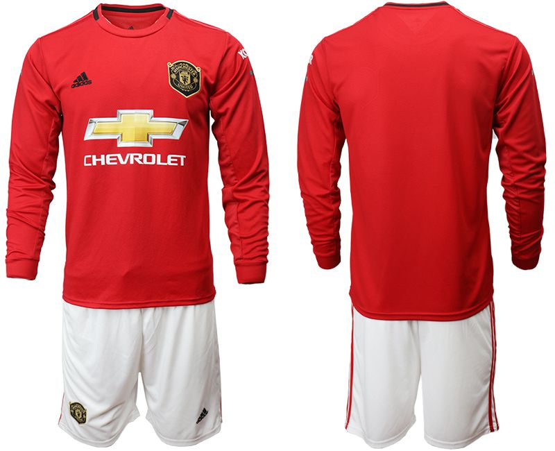 Men 2019-2020 club Manchester united home long sleeve red Soccer Jerseys
