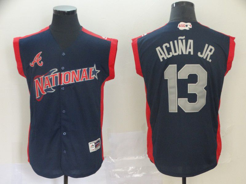 Men Atlanta Braves 13 Acuna jr Navy Blue 2019 All Star MLB Jerseys