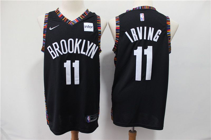 Men Brooklyn Nets 11 Irving Black City Edition Nike NBA Jerseys