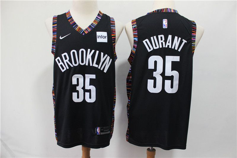 Men Brooklyn Nets 35 Durant Black City Edition Nike NBA Jerseys