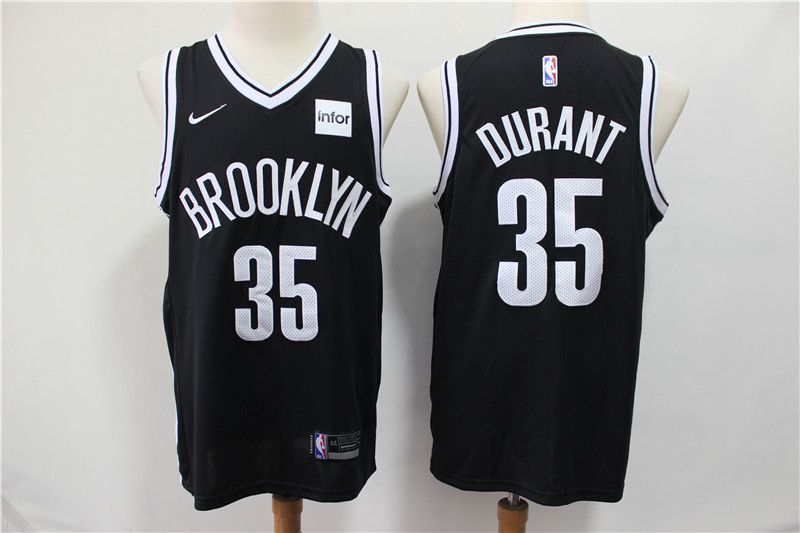 Men Brooklyn Nets 35 Durant Black Nike Game NBA Jerseys