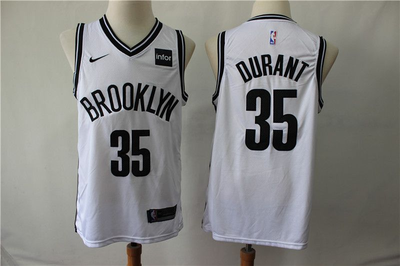 Men Brooklyn Nets 35 Durant White Nike Game NBA Jerseys