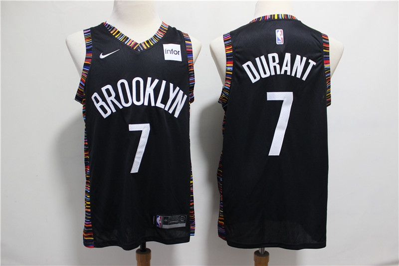 Men Brooklyn Nets 7 Durant Black City Edition Game Nike NBA Jerseys