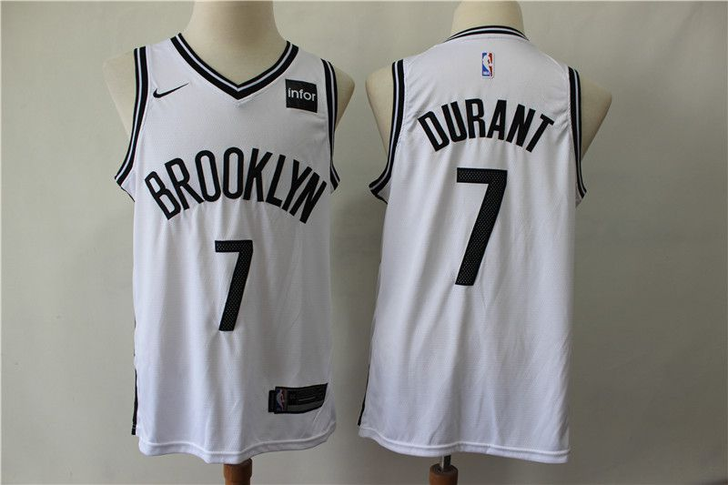 Men Brooklyn Nets 7 Durant White Nike Game NBA Jerseys