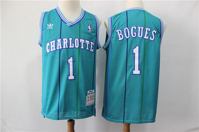 Men Charlotte Hornets 1 Bogues Green Throwback Adidas NBA Jerseys