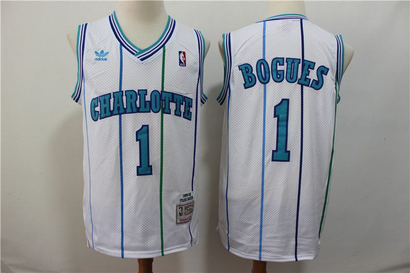 Men Charlotte Hornets 1 Bogues White Throwback Adidas NBA Jerseys