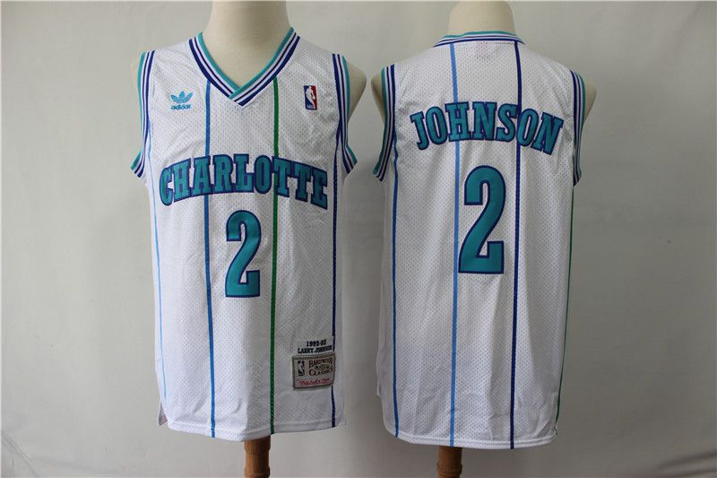 Men Charlotte Hornets 2 Johnson White Throwback Adidas NBA Jerseys