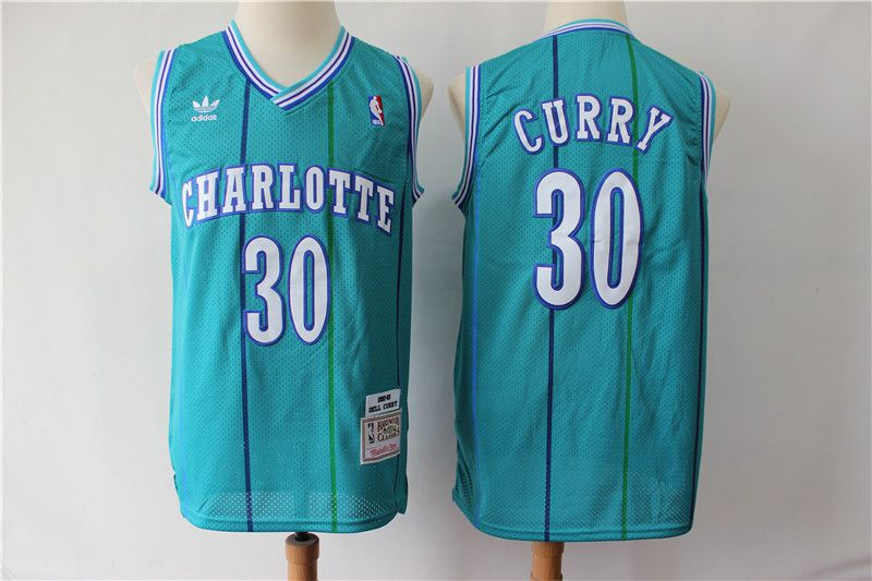 Men Charlotte Hornets 30 Curry Green Throwback Adidas NBA Jerseys