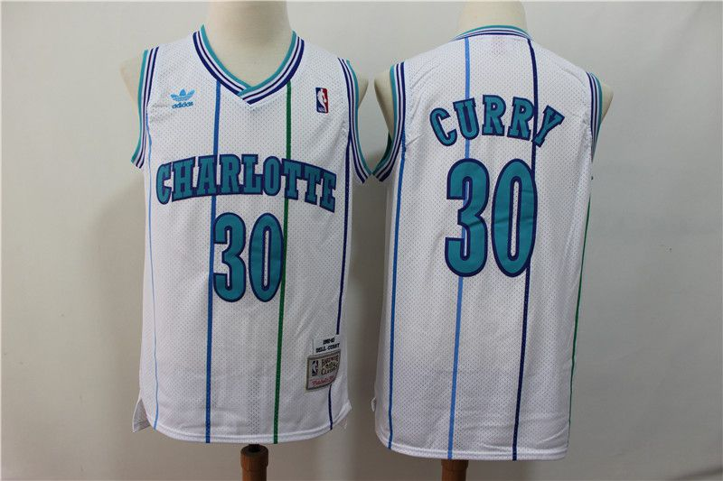 Men Charlotte Hornets 30 Curry White Throwback Adidas NBA Jerseys