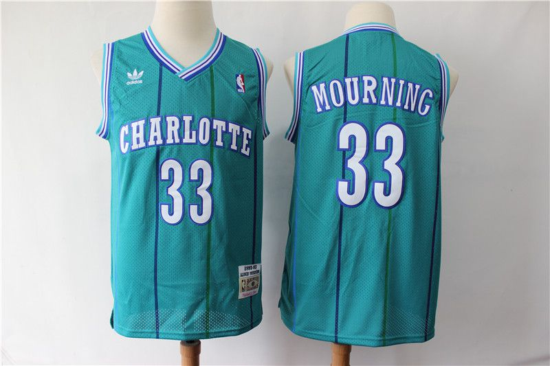 Men Charlotte Hornets 33 Mourning Green Throwback Adidas NBA Jerseys