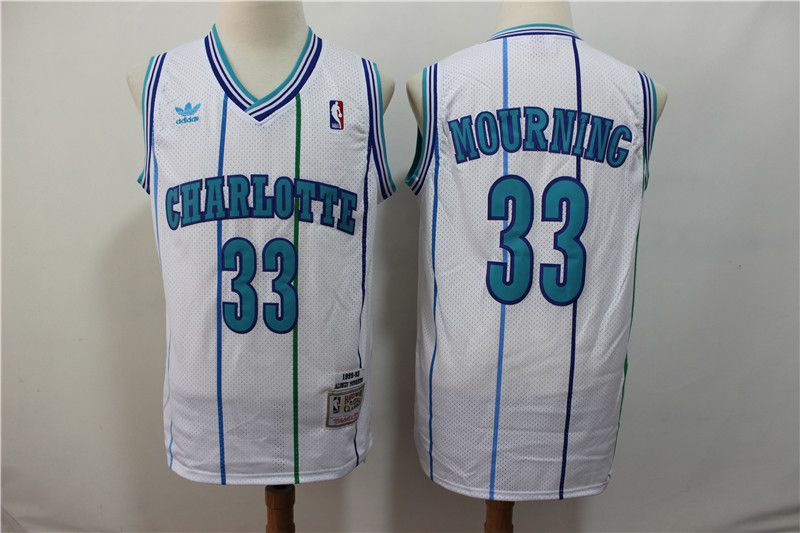Men Charlotte Hornets 33 Mourning White Throwback Adidas NBA Jerseys