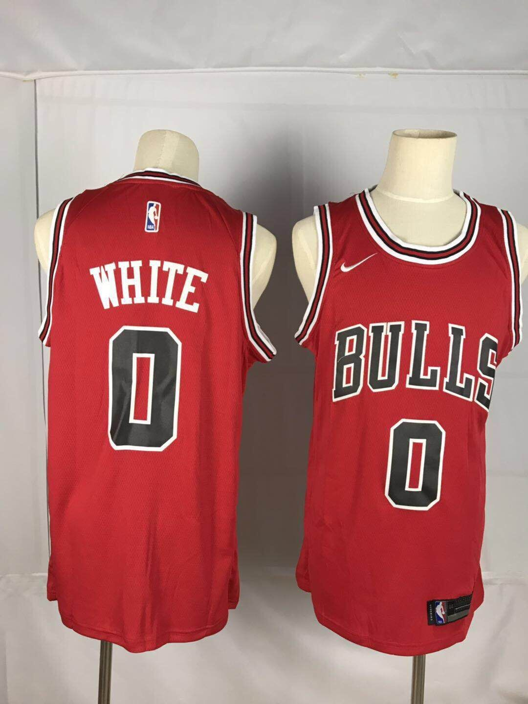 Men Chicago Bulls 0 White Red Game Nike NBA Jerseys