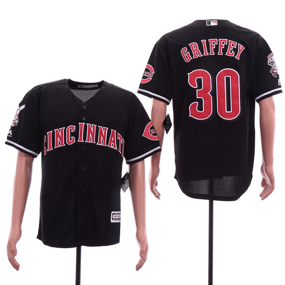Men Cincinnati Reds 30 Griffey Black Game MLB Jerseys