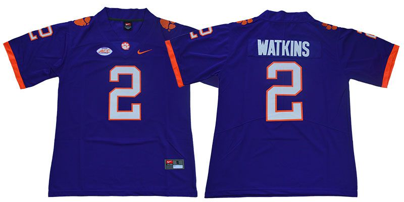 Men Clemson Tigers 2 Watkins Purple Nike Limited Stitched NCAA Jersey