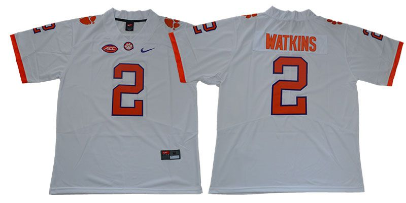 Men Clemson Tigers 2 Watkins White Nike Limited Stitched NCAA Jersey