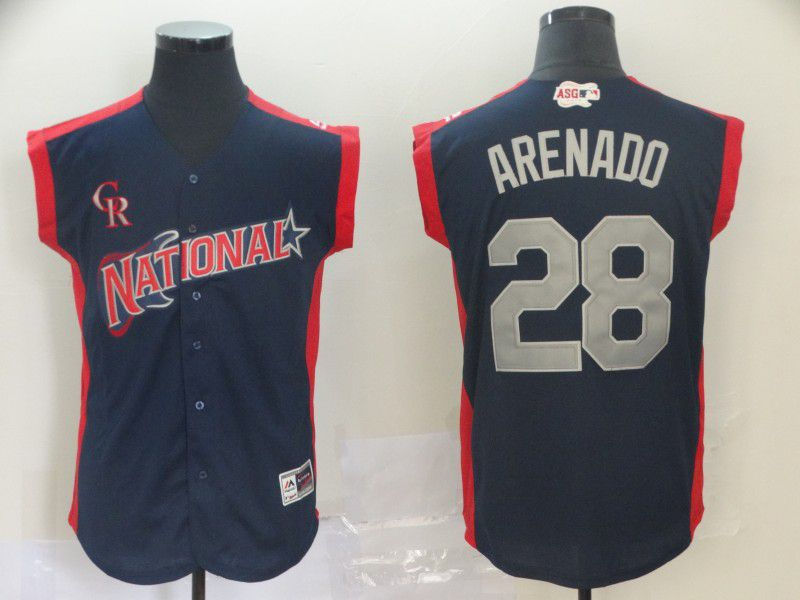 Men Colorado Rockies 28 Arenado Navy Blue 2019 All Star MLB Jerseys