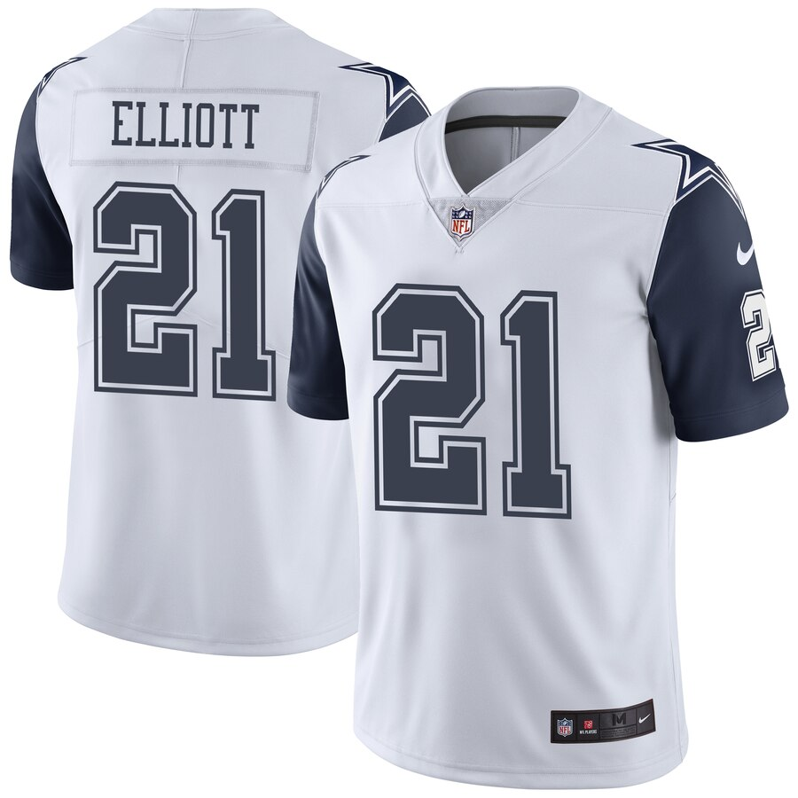 Men Dallas Cowboys 21 Ezekiel Elliott Nike White Vapor Untouchable Color Rush Limited Player nfl Jersey