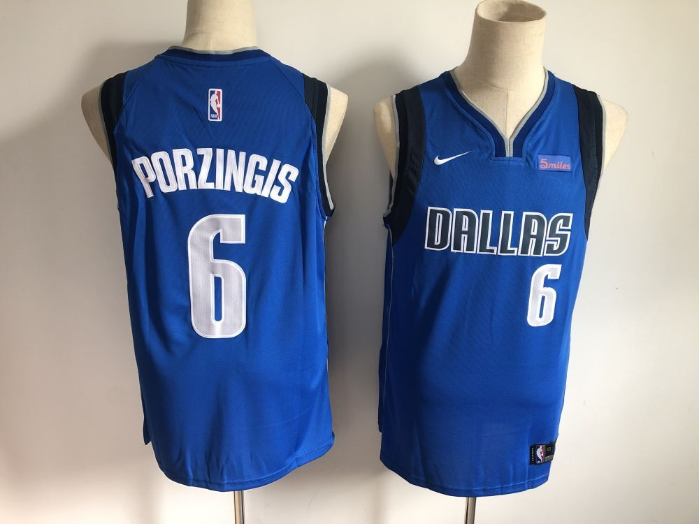 Men Dallas Mavericks 6 Porzingis Blue Game Nike NBA Jerseys