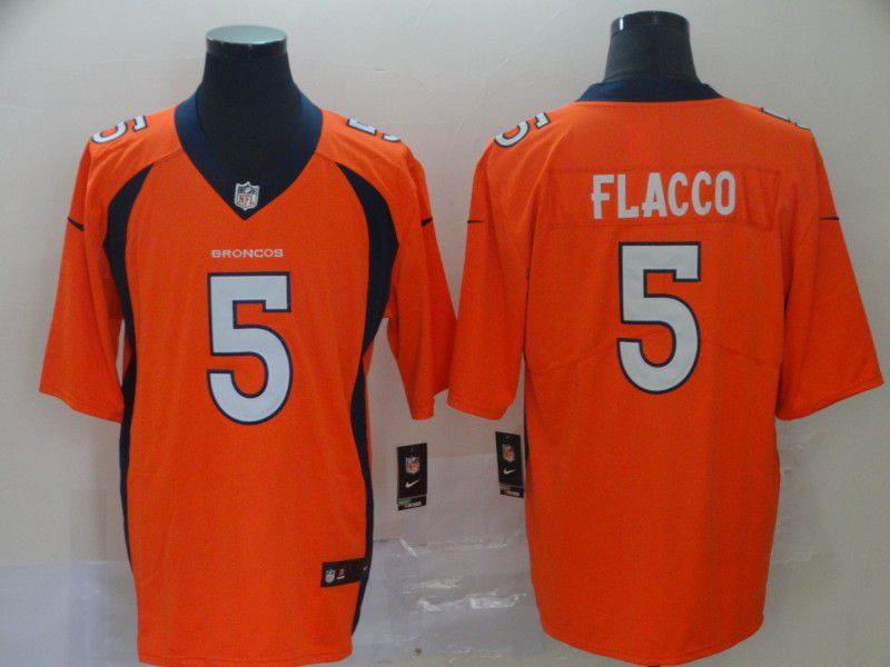 Men Denver Broncos 5 Flacco Orange Nike Vapor Untouchable Limited Player NFL Jerseys