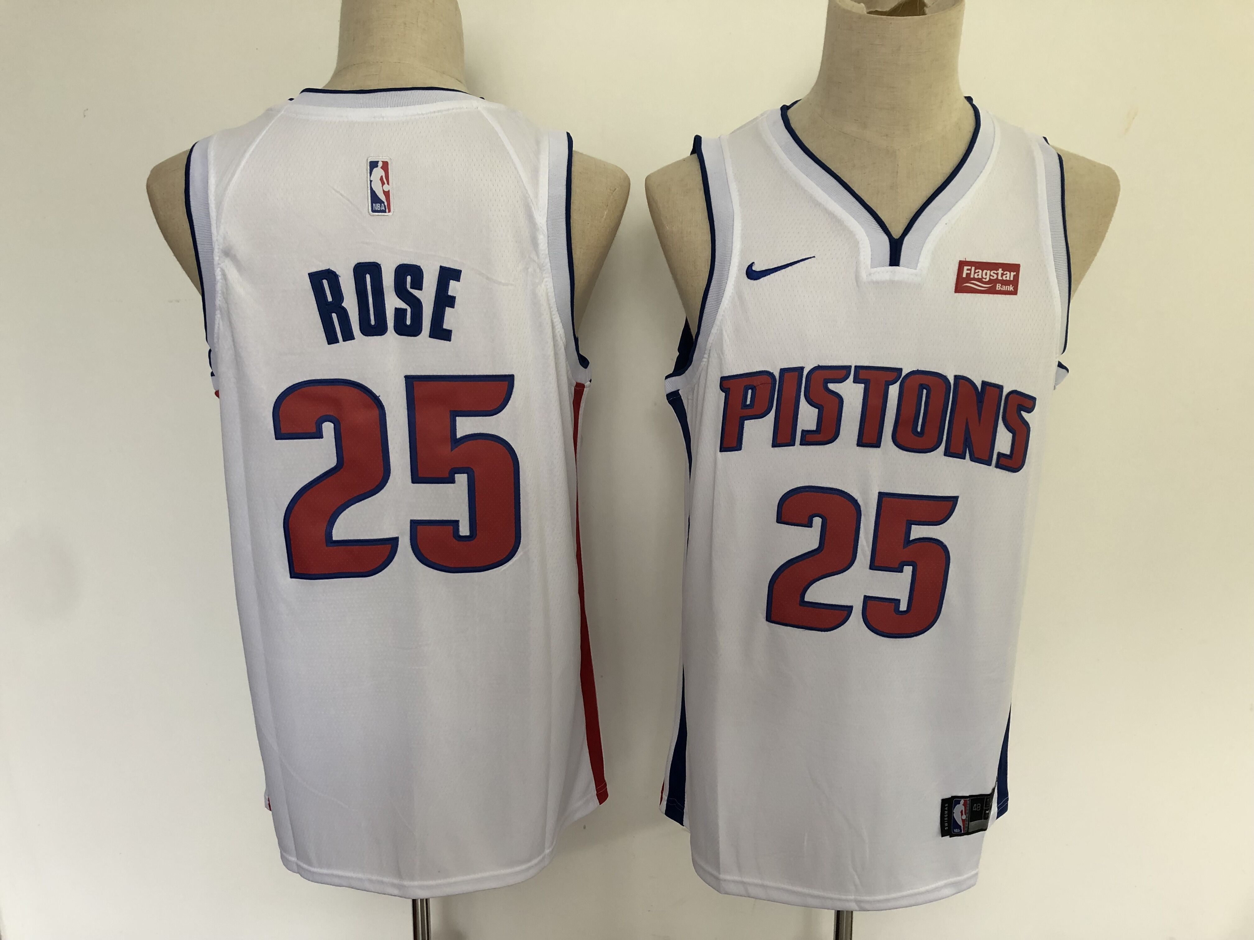 Men Detroit Pistons 25 Rose White Nike Game NBA Jerseys