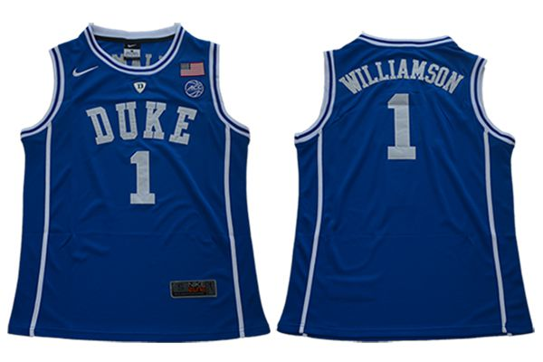 Men Duke Blue Devils 1 Williamson Blue Nike NCAA Jerseys
