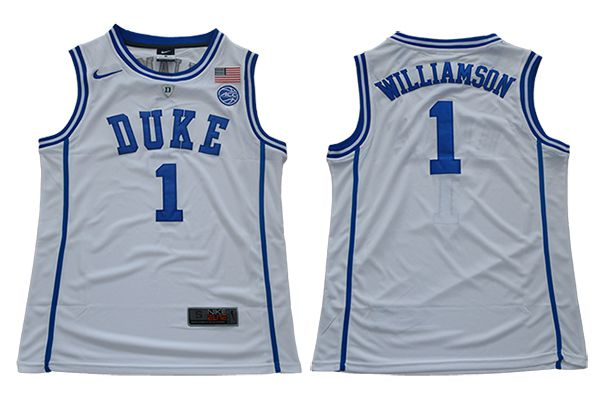 Men Duke Blue Devils 1 Williamson White Nike NCAA Jerseys