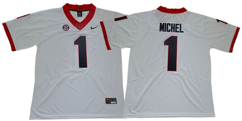 Men Georgia Bulldogs 1 Michel White Limited Stitched NCAA Jersey