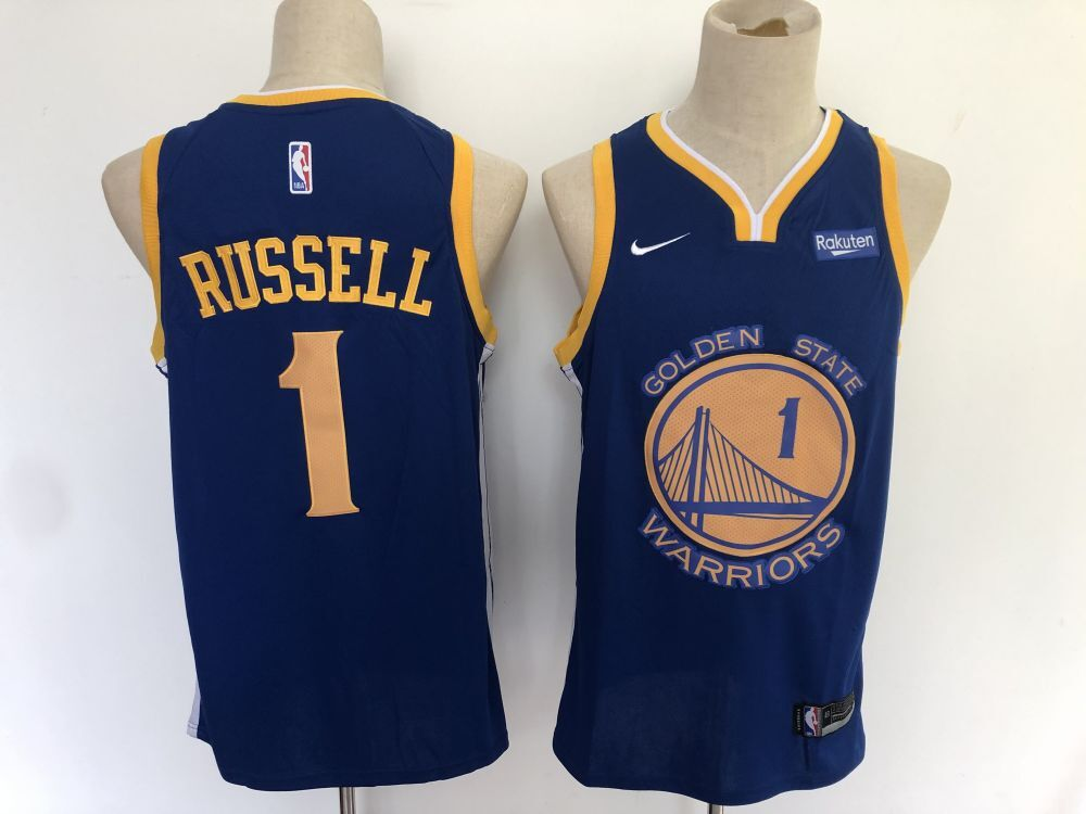 Men Golden State Warriors 1 Russell Blue Nike Game NBA Jerseys