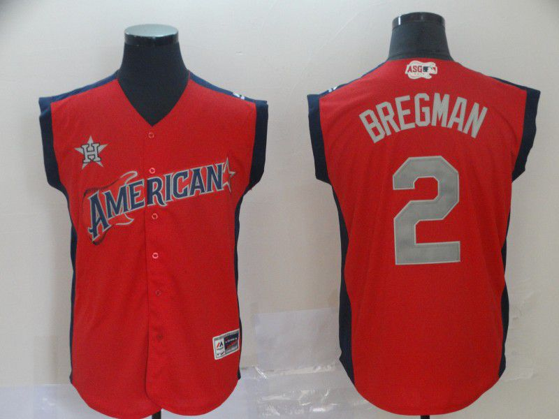 Men Houston Astros 2 Bregman Red 2019 All Star MLB Jerseys