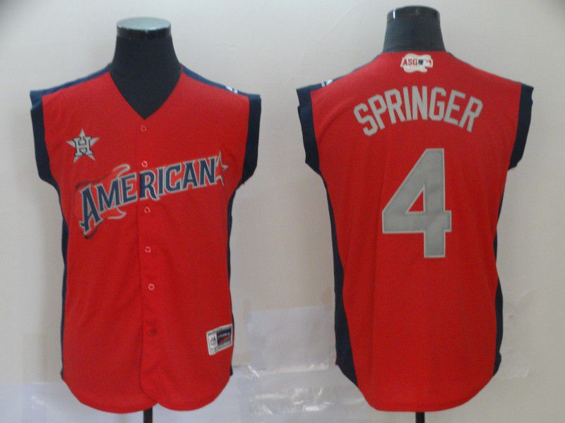 Men Houston Astros 4 Springer Red 2019 All Star MLB Jerseys