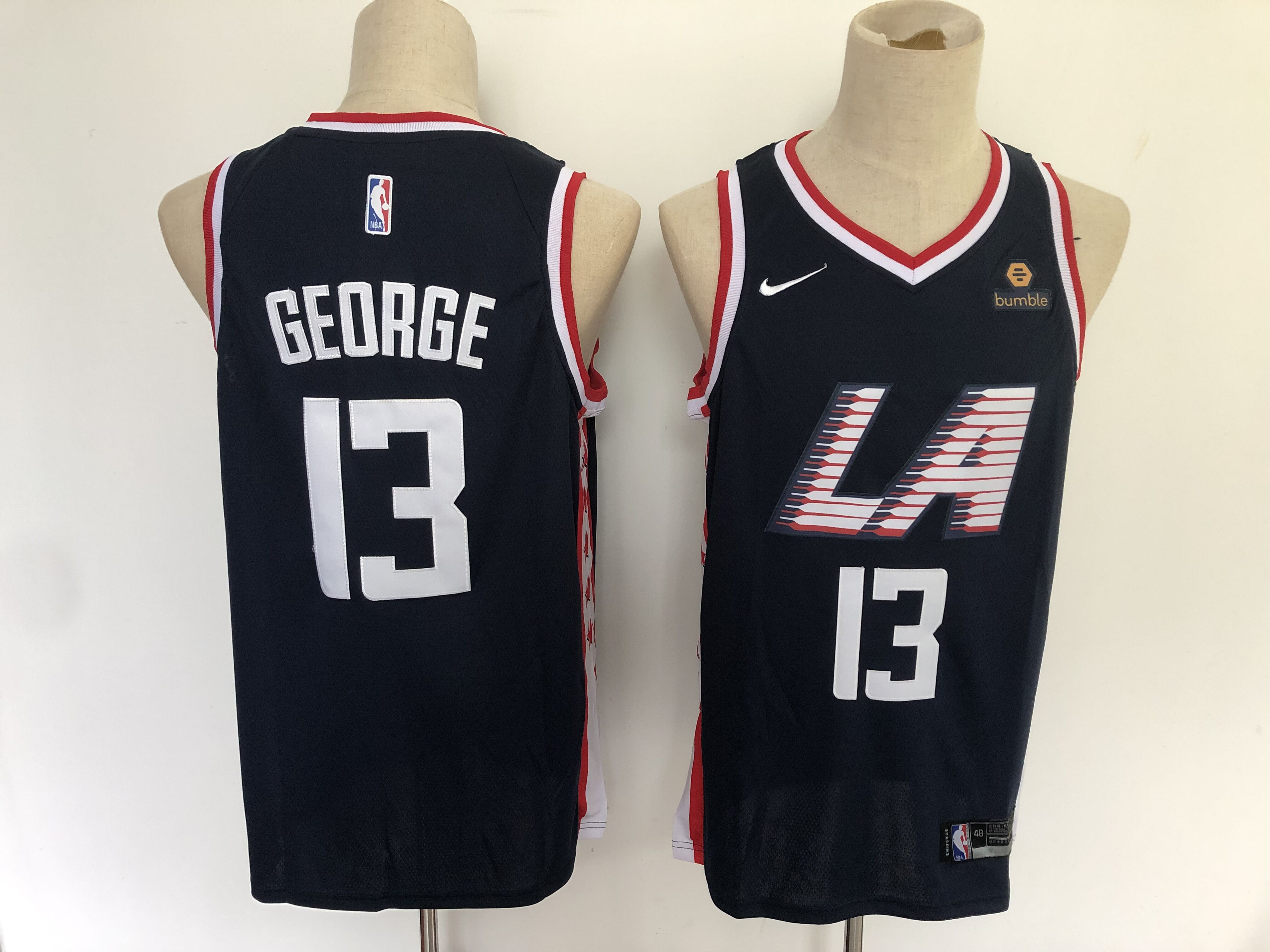 Men Los Angeles Clippers 13 George Blue City Edition Game Nike NBA Jerseys