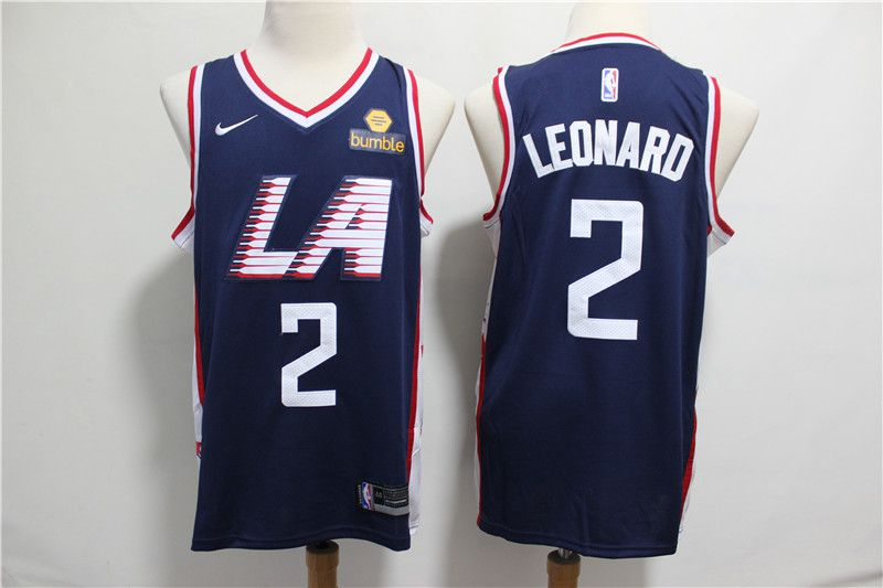 Men Los Angeles Clippers 2 Leonard Blue City Edition Game Nike NBA Jerseys