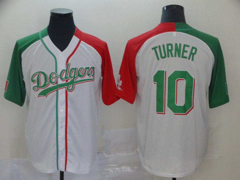 Men Los Angeles Dodgers 10 Turner White Game MLB Jerseys