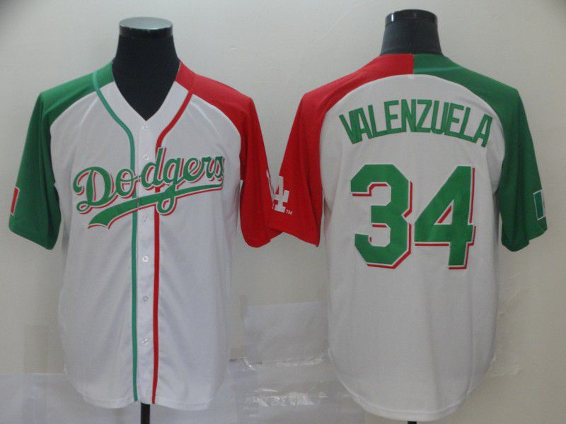 Men Los Angeles Dodgers 34 Valenzuela White Game MLB Jerseys